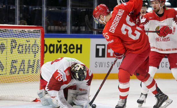 Mihail Grigorenko oli monessa mukana tänään Valko-Venäjää vastaan.
