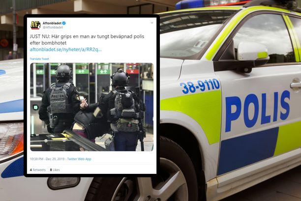 Aftonbladetin mukaan poliisi on pidättänyt yhden henkilön. Pommia ei ole löydetty.