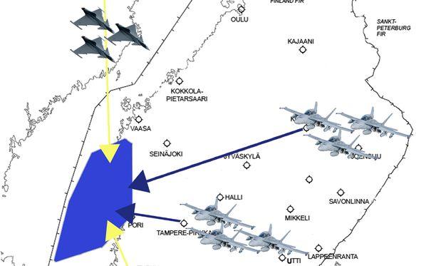 Puolustusvoimien julkaisema grafiikka harjoitusalueesta, joka sijaitsee Selkämerellä Porin edustalla.