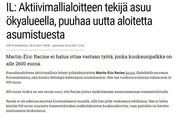 Kokoomuksen äänenkannattaja siteerasi Iltalehden juttua 30. joulukuuta näin.