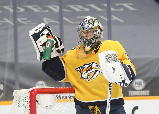 Pekka Rinne on pelannut upean uran Nashville Predatorsin maalin suulla.