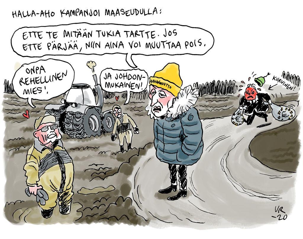 Ville Rannan pilapiirros: Perussuomalaisten ilosanoma leviää maaseudulle