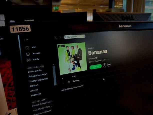 Uuden musiikin kilpailuun osallistuvan F3M-yhtyeen kappale Bananas on jo Spotifyssa.