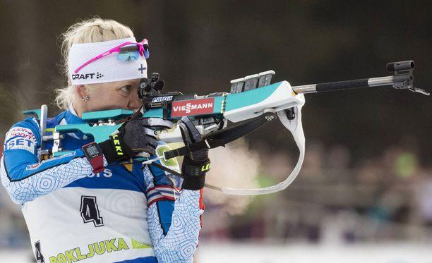 Kaisa Mäkäräinen hiihti tällä kaudella kolmannen kerran palkintokorokkeelle.