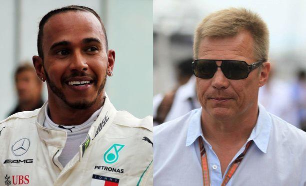 Lewis Hamilton kävi Mika Salon ja kumppanien juttusilla kisan jälkeen.