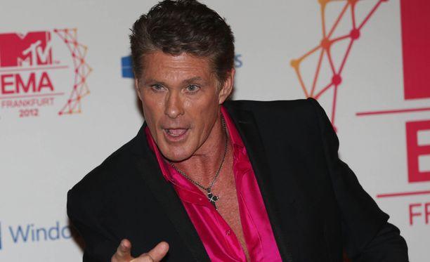 Hasselhoff viihdytti mediaa MTV-gaalassa Frankfurtissa vuonna 2012.