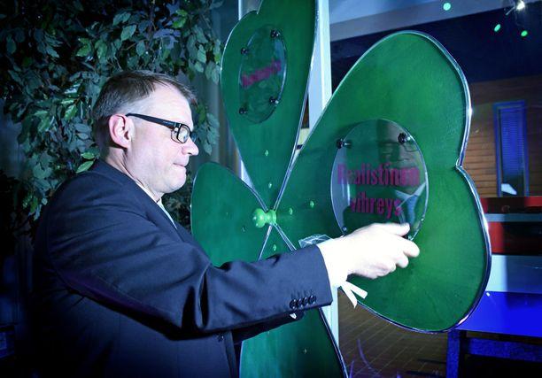 Sipilä palasi kesäkokouspuheessaan luottamuksen apila -konseptiinsa. Kuva keskustan puoluekokouksesta Sotkamosta.