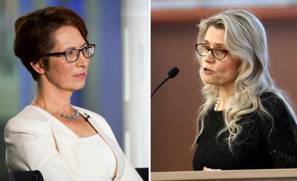 Sari Essayah (vasemmalla) on tällä hetkellä kristillisdemokraattien johdossa. Päivi Räsänen on puolueen entinen puheenjohtaja.