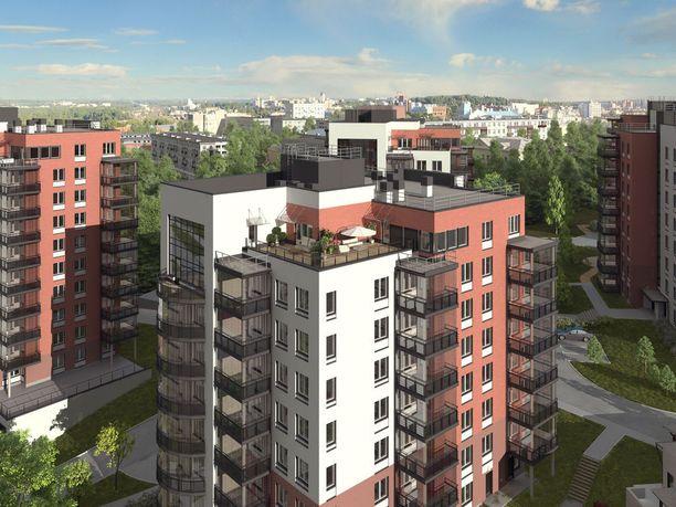 Viipurin pohjoispuolella Papulan kaupunginosan SRV:n rakentamia kerrostaloasuntoja.