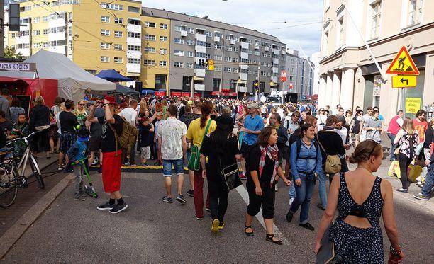 Tänä viikonloppuna Helsingissä järjestetään muun muassa Kallio Block Party. Kuvituskuva.
