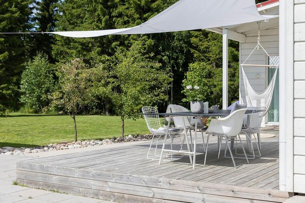 Kattamaton terassi? Aurinkopurje tai muu suoja tekee tilasta yhtenäisemmän ja suojaa pahimmalta paahteelta.