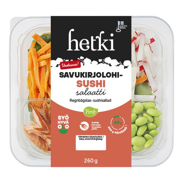 Savukirjolohi-sushisalaatilla on Syö hyvä olo-merkki, koska se on hyvä proteiinin lähde ja siinä on 80 g kasviksia.