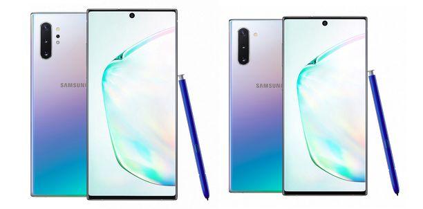 Vasemmalla Galaxy Note10+ ja oikealla Galaxy Note10.