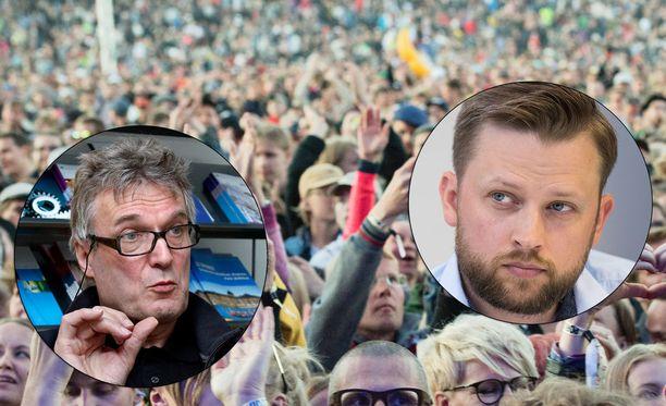 Pori Jazz etsii yhä uutta toimitusjohtajaa Aki Ruotsalan tilalle (oik.). Pori Jazzin hallituksen puheenjohtaja Hannu Jaakkola johtaa rekrytointiprosessia.