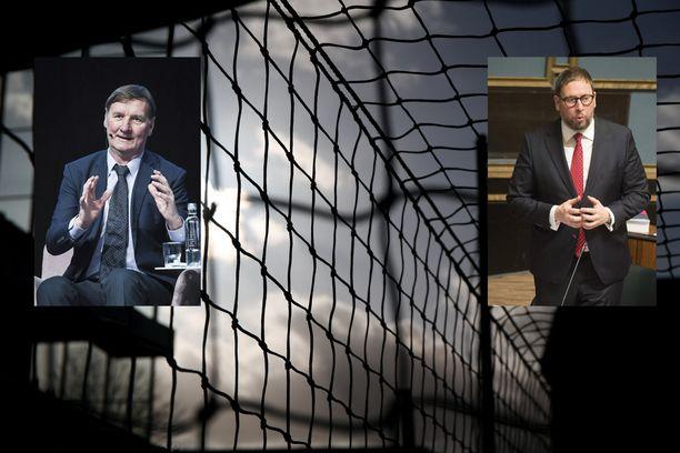 Hallituspuolueiden kansanedustajat Jukka Gustafsson (vasemmassa pikkukuvassa) ja Paavo Arhinmäki haluavat muuttaa hallituksen linjausta.