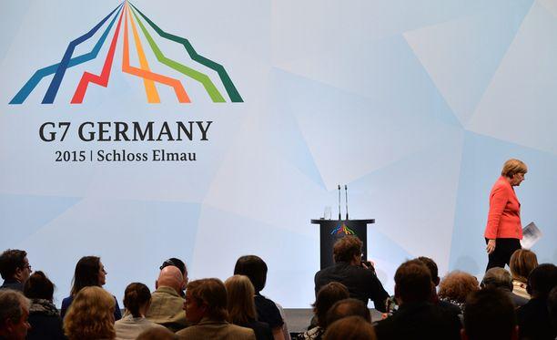G7-kokous jatkui tänään. Angela Merkel puhui ilmaston lämpenemisestä.