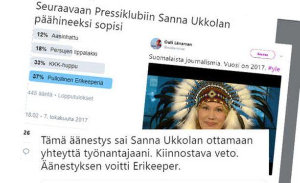 Sanna Ukkolan intiaanipäähine, sen kirvoittamat kommentit ja Ukkolan reagointi kuohuttivat lokakuussa 2017.