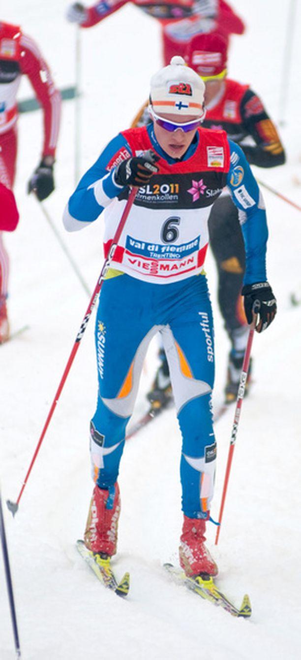 Matti Heikkinen ei pystynyt hiihtämään äärirajoille lauantaina.