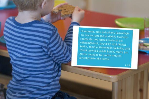 Iltalehden haastattelema äiti näytti viestejä, joissa päiväkoti kertoo sijaispulastaan. Taustalla kuvituskuva.