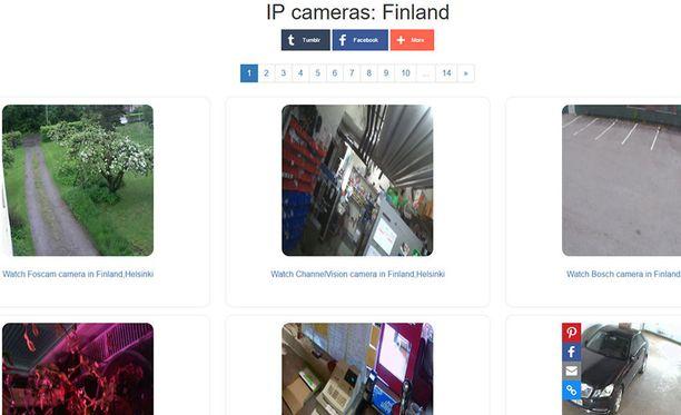 Nettisivusto levittää tuhansien suojaamattomien nettiin yhdistettyjen kameroiden kuvaa. Suomestakin mukana on kymmeniä kameroita.