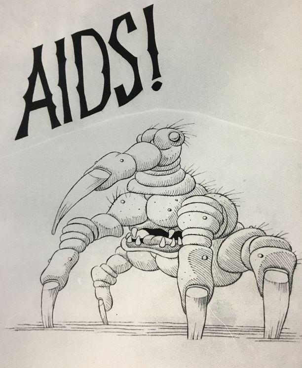 Vuonna 1987 aidsista varoitettiin tällaisin kuvin.