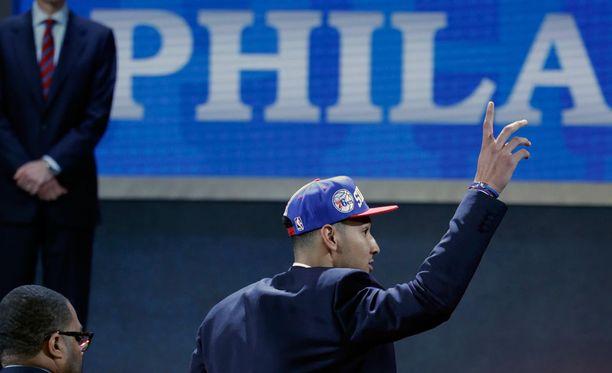 Ben Simmons oli innoissaan pääsystä Philadelphian joukkueeseen.