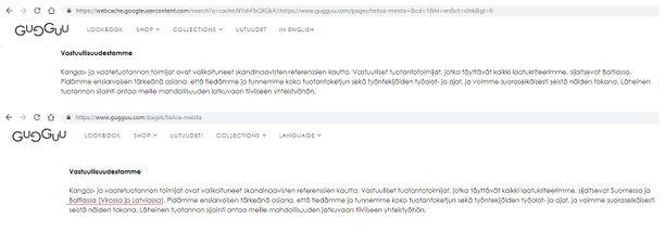 Ylempi kuvakaappaus näyttää, mitä tietoja Gugguun käyttämistä tehtaista löytyi merkin verkkosivujen vastuullisuusosiosta keskiviikkona päivällä. Alempi kuvakaappaus on otettu keskiviikkoiltana. Siinä näkyy, että sivuille on käyty lisäämässä tietoja tehdasmaista.