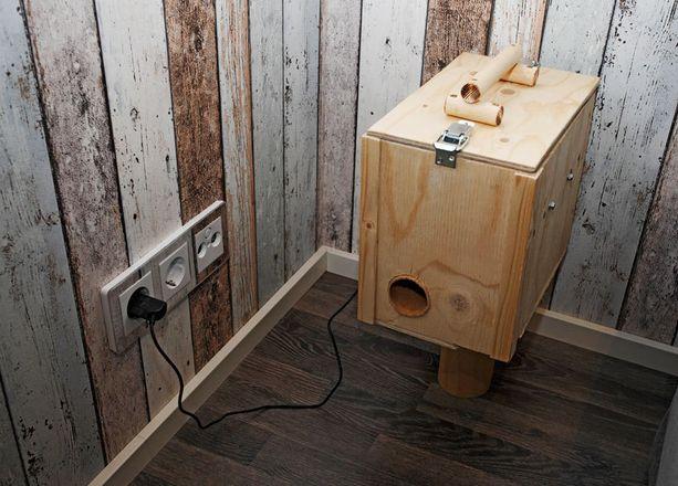 KOHDE 36. Koiraperheen nelijalkaiset saavat päivän mittaan herkkupaloja tästä automaatista.