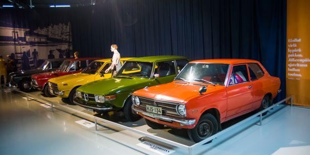 Kansan suosikit Datsun 1200 Finn ´72, Saab 99 ´71, Toyota Corolla STW ´78, Fiat 125 B-Special ´72 ja Volvo Amazon ´64.