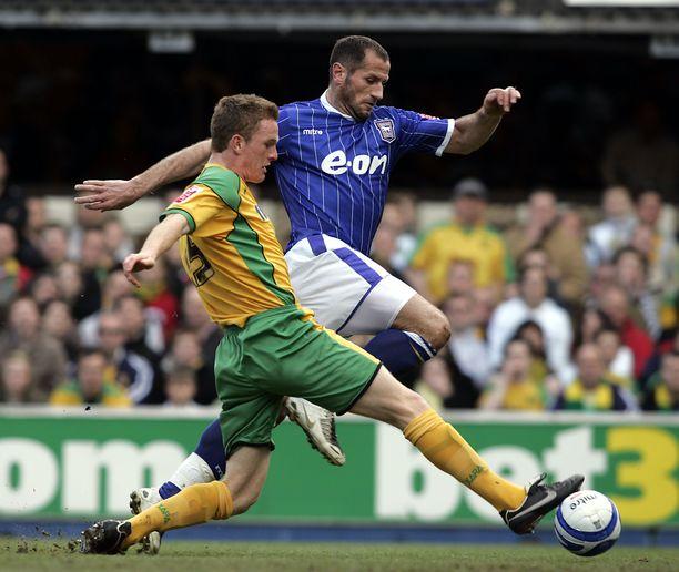Ipswichin Shefki Kuqi Itä-Anglian derbyssä 2008.
