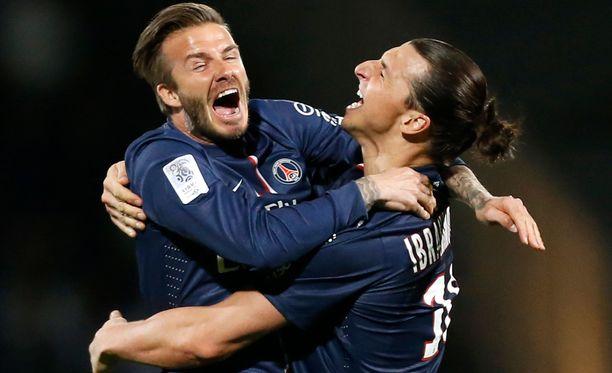 David Beckham ja Zlatan pelasivat yhdessä PSG:ssä.