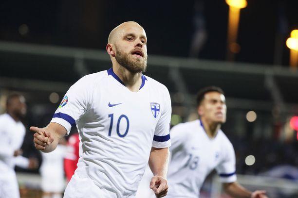 Teemu Pukki teki kaksi maalia Suomi-Liechtenstein-ottelussa.