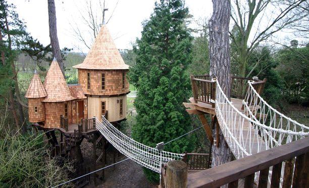 Tässä puumajassa ei tila lopu kesken. Linnamainen rakennelma Britanniasta.