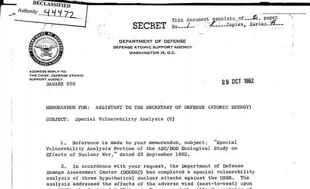 Vuosikymmeniä salassa pidetty asiakirja paljastaa, että Yhdysvallat oli laskenut tarkkaan mahdollisen ydinsodan aiheuttamat tuhot Euroopan siviiliväestölle.