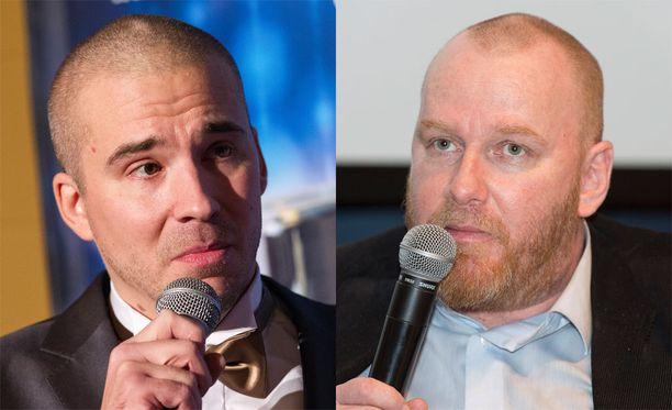 Aleksi Valavuori (vas.) aikoo pohtia tosissaan nyrkkeilyottelua Petteri Sihvosta vastaan.