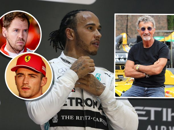 Eddie Jordan (oikealla) lausui rohkeita näkemyksiä niin Sebastian Vettelin, Charles Leclercin kuin Lewis Hamiltoninkin tulevaisuudesta.