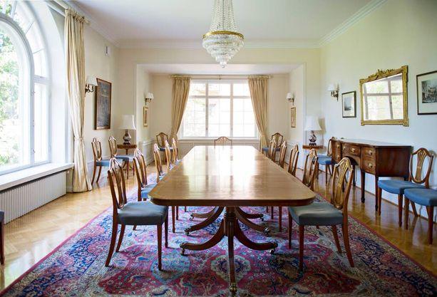 Vaikka talo onkin jaettu edustustilaan ja yksityiseen tilaan, koko talo on suurlähettiläsperheen käytössä.