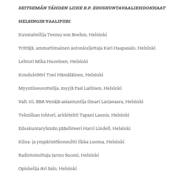 Börje Börgelssonin nimeä ei löydy enää tähtiliikkeen eduskuntavaaliehdokkaiden listalta.