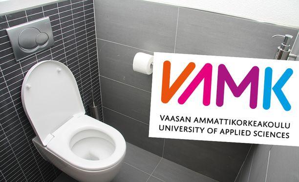 Vaasan ammattikorkeakoulun Vamkin vessan lavuaarin alle teipattiin kamera. Kuvituskuva.