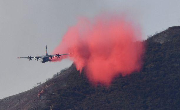 Lentokone pudottaa sammutusainetta maastopalon hillitsemiseksi.