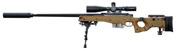 L115A-kiväärissä oli käytössä äänenvaimennin.