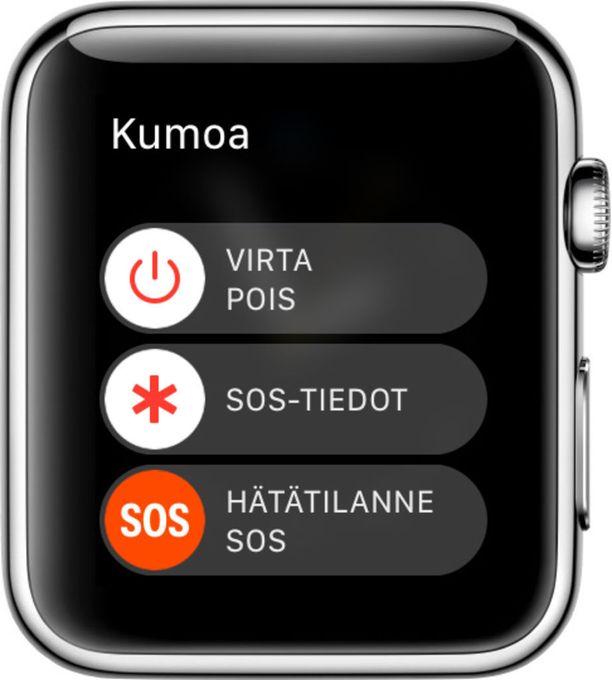 Apple Watchilla hätäpuhelun voi soittaa pitämällä sivupainiketta pitkään pohjassa.