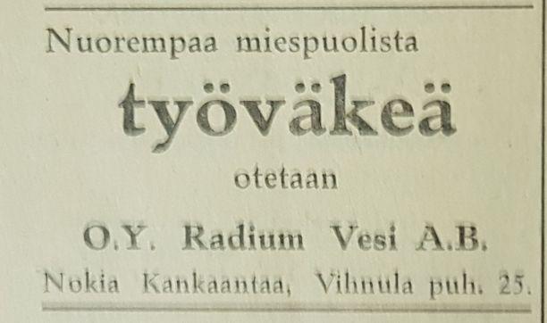 Juomatehdas etsi työväkeä lehti-ilmoituksella 7.10.1937. Ilmoitus julkaistiin Nokian Uutisten edeltäjässä Pirkkalan Uutisissa.