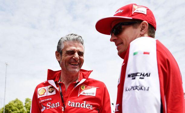 Maurizio Arrivabenellä ja Kimi Räikkösellä on ollut syitä tyytyväisyyteen Barcelonassa.