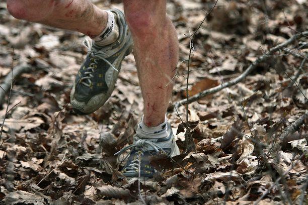 Barkley Marathons -kisan maasto on piinaavan vaativa. Piikkipensaat raapivat jalkoja, ja alustana on lehtiä, jotka muuttavat tantereen luistinradaksi märällä kelillä.