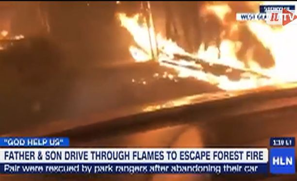 Kuvakaappaus videolta, jonka Justin Bilton kuvasi jäätyään isänsä kanssa metsäpalon saartamaksi Montanassa.