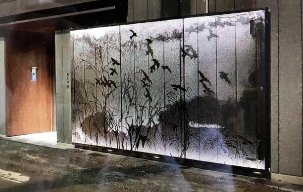 Kaisu Sirviö suunnitteli kerrostalon julkisivuun työn perforoidusta teräslevystä.