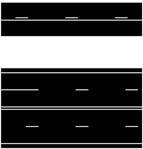 Uusi valkoinen sulkuviiva yhteen suuntaan kulkijoille (yläkuva) ja molempien suuntien kulkijoille (alakuva).