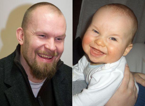 Kuvassa poikani Aleksi noin puolen vuoden ikäisenä. Yhdennäköisyys Jere Karalahden kanssa on hämmästyttävä, kertoi Jari Helsingistä.