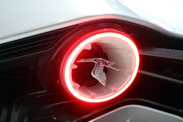 Hispano-Suizan logo on kasvanut takavalojen sisälle.